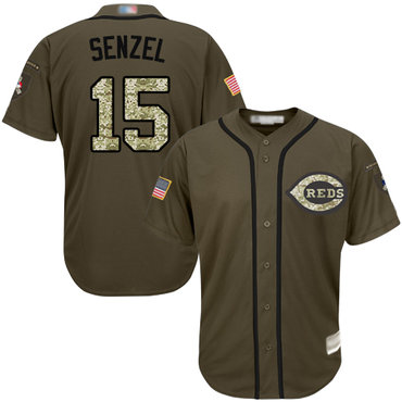 Youth Reds #15 Nick Senzel Green Salute to Service Stitched Baseball Jersey