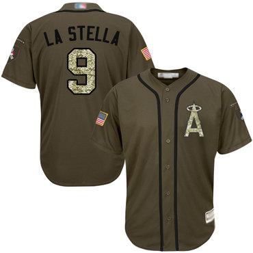 Angels of Anaheim #9 Tommy La Stella Green Salute to Service Stitched Baseball Jersey
