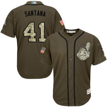 Indians #41 Carlos Santana Green Salute to Service Stitched Baseball Jersey