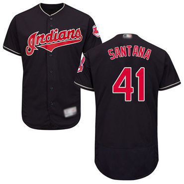 Indians #41 Carlos Santana Navy Blue Flexbase Authentic Collection Stitched Baseball Jersey