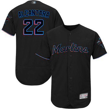 marlins #22 Sandy Alcantara Black Flexbase Authentic Collection Stitched Baseball Jersey