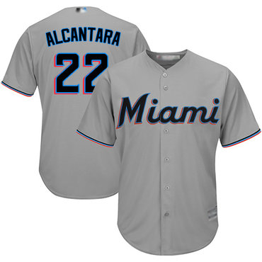 marlins #22 Sandy Alcantara Grey New Cool Base Stitched Baseball Jersey