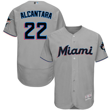 marlins #22 Sandy Alcantara Grey Flexbase Authentic Collection Stitched Baseball Jersey