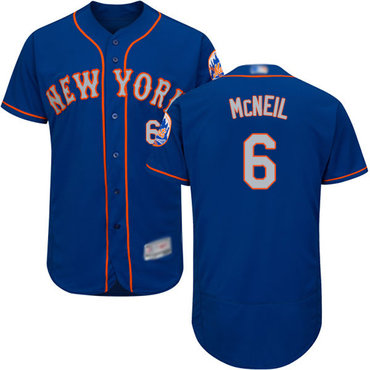 Mets #6 Jeff McNeil Blue(Grey NO.) Flexbase Authentic Collection Stitched Baseball Jersey