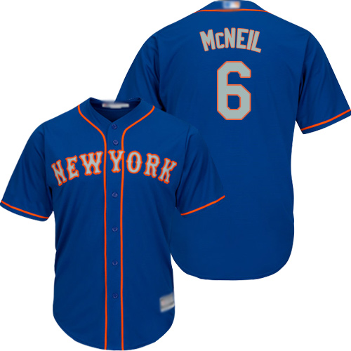Mets #6 Jeff McNeil Blue(Grey NO.) New Cool Base Stitched Baseball Jersey