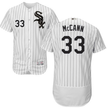 White Sox #33 James McCann White(Black Strip) Flexbase Authentic Collection Stitched Baseball Jersey