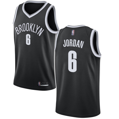 Nets #6 DeAndre Jordan Black Basketball Swingman Icon Edition Jersey