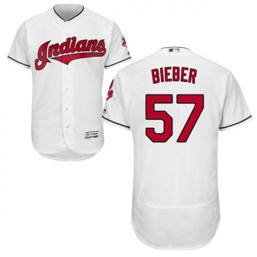 Men's Majestic #57 Shane Bieber Cleveland Indians Authentic White Flex Base Home Collection Jersey