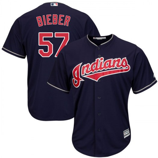 Men's Majestic #57 Shane Bieber Cleveland Indians Replica Navy Cool Base Alternate Jersey