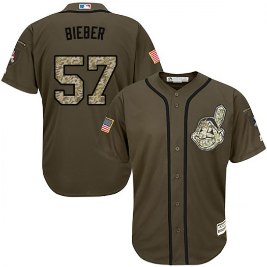 Men's Majestic #57 Shane Bieber Cleveland Indians Replica Green Salute to Service Jersey
