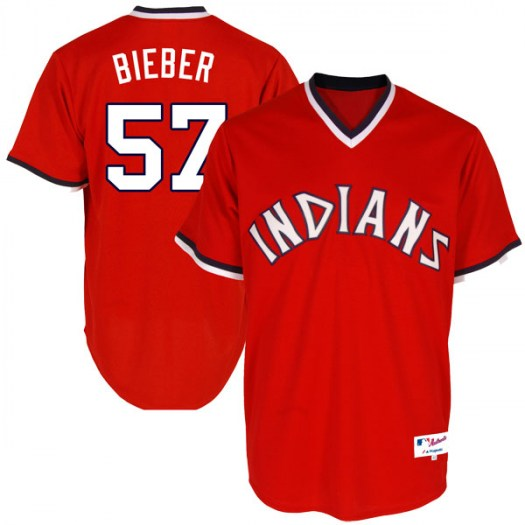 Men's Majestic #57 Shane Bieber Cleveland Indians Replica Red Turn Back the Clock Jersey
