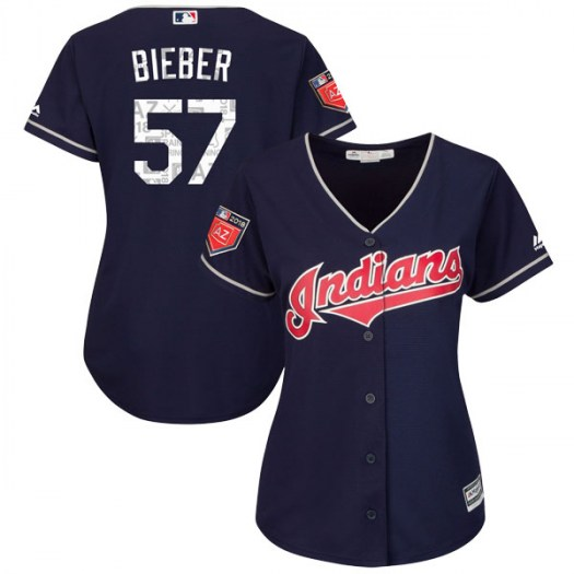 Women's Majestic #57 Shane Bieber Cleveland Indians Replica Navy Cool Base 2018 Spring Training Jersey