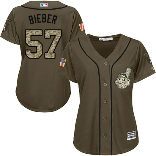Women's Majestic #57 Shane Bieber Cleveland Indians Replica Green Salute to Service Jerse