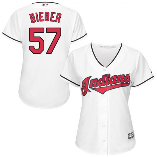 Women's Majestic #57 Shane Bieber Cleveland Indians Replica White Cool Base Home Jersey