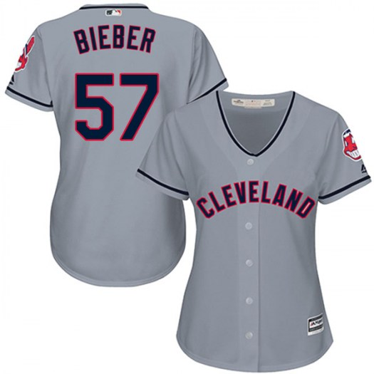 Women's Majestic #57 Shane Bieber Cleveland Indians Replica Gray Cool Base Road Jersey