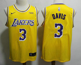 Men's Los Angeles Lakers #3 Anthony Davis 2019 Yellow Nike Swingman Wish Stitched NBA Jersey