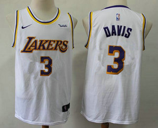 Men's Los Angeles Lakers #3 Anthony Davis 2019 White Nike Swingman Wish Stitched NBA Jersey
