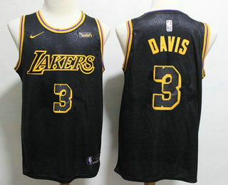 Men's Los Angeles Lakers #3 Anthony Davis 2019 Black Nike Swingman Wish Stitched NBA Jersey