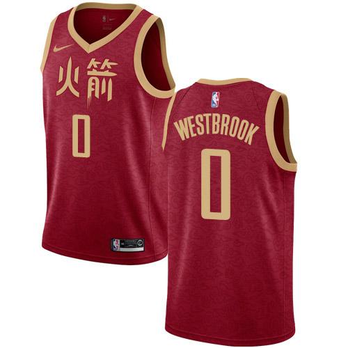Nike Rockets #0 Russell Westbrook Red NBA Swingman City Edition 2018-19 Jersey