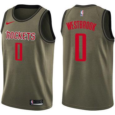 Nike Rockets #0 Russell Westbrook Green Salute to Service NBA Swingman Jersey