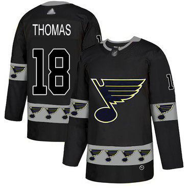 Blues #18 Robert Thomas Black Authentic Team Logo Fashion Stitched Hockey Jersey