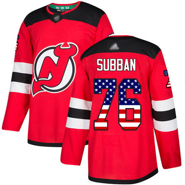 Devils #76 P. K. Subban Red Home Authentic USA Flag Stitched Hockey Jersey