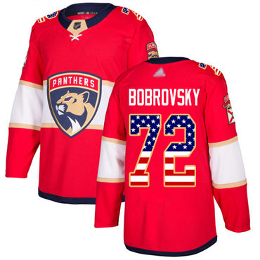 Panthers #72 Sergei Bobrovsky Red Home Authentic USA Flag Stitched Hockey Jersey