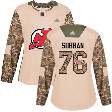 Devils #76 P. K. Subban Camo Authentic 2017 Veterans Day Women's Stitched Hockey Jersey