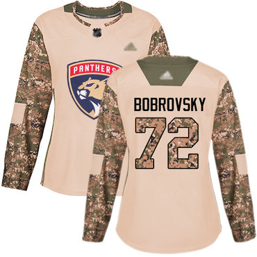 Panthers #72 Sergei Bobrovsky Camo Authentic 2017 Veterans Day Women's Stitched Hockey Jersey