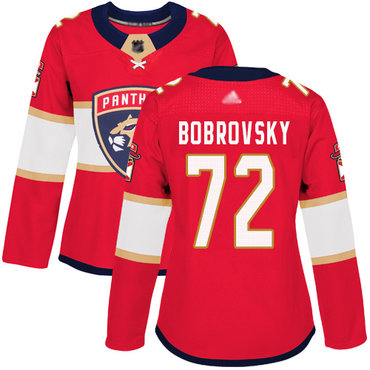 Panthers #72 Sergei Bobrovsky Red Home Authentic Women's Stitched Hockey Jersey