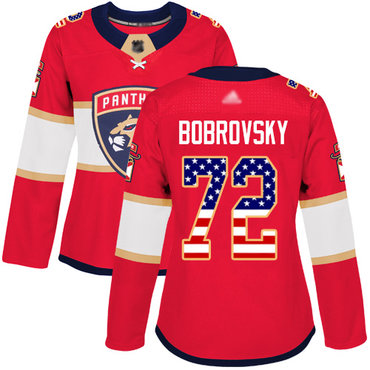 Panthers #72 Sergei Bobrovsky Red Home Authentic USA Flag Women's Stitched Hockey Jersey