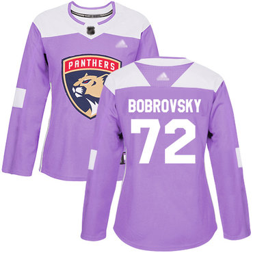 Panthers #72 Sergei Bobrovsky Purple Authentic Fights Cancer Women's Stitched Hockey Jersey