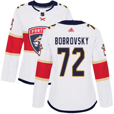 Panthers #72 Sergei Bobrovsky White Road Authentic Women's Stitched Hockey Jersey