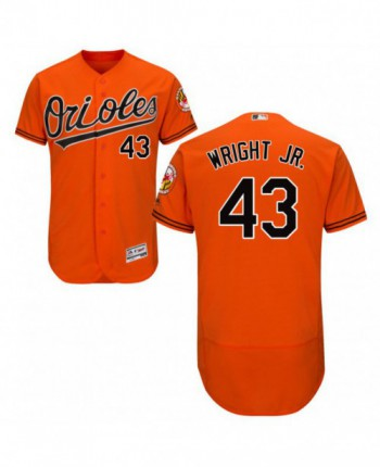 Men's Majestic Baltimore Orioles #43 Mike Wright Jr. Authentic Orange Alternate Flex Base Jersey
