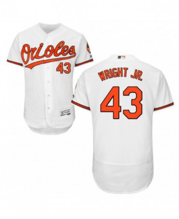 Men's Majestic Baltimore Orioles #43 Mike Wright Jr. Authentic White Home Flex Base Jersey