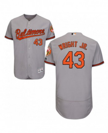 Men's Majestic Baltimore Orioles #43 Mike Wright Jr. Authentic Gray Road Flex Base Jersey