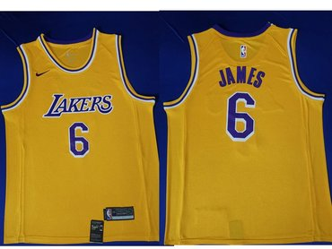 Men's Nike Los Angeles Lakers #6 LeBron James Purple Number Yellow Stitched NBA Jersey