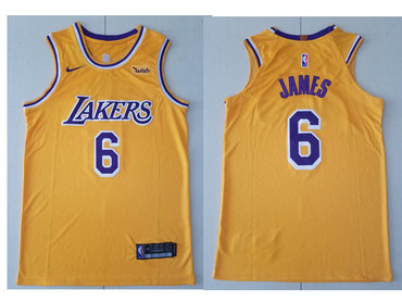 Nike Los Angeles Lakers #6 LeBron James Gold NBA Swingman Icon Edition Jersey