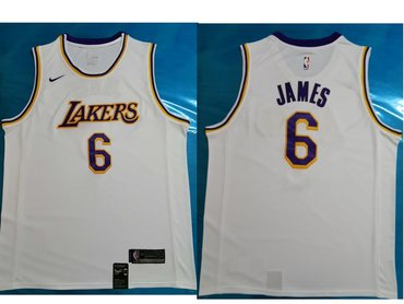Men's Los Angeles Lakers #6 LeBron James White Nike NBA Association Edition Authentic Jersey