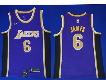 Nike Los Angeles Lakers #6 LeBron James Purple NBA Swingman Statement Edition Jersey