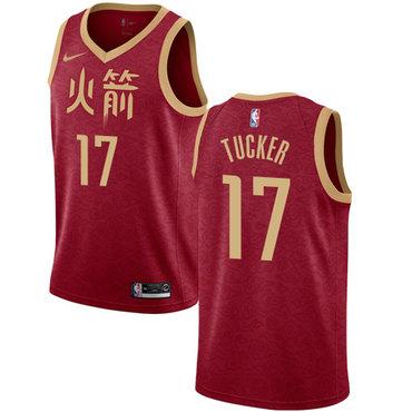 Rockets #17 PJ Tucker Red Basketball Swingman City Edition 2018-19 Jersey