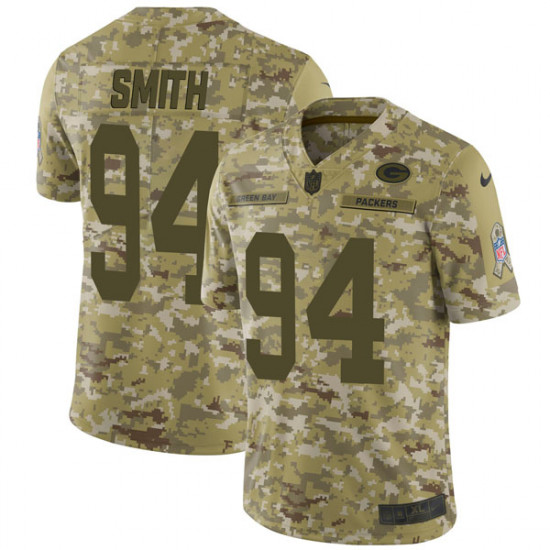 Men's Green Bay Packers #94 Preston Smith Limited 2018 Salute to Service Nike Camo Jersey