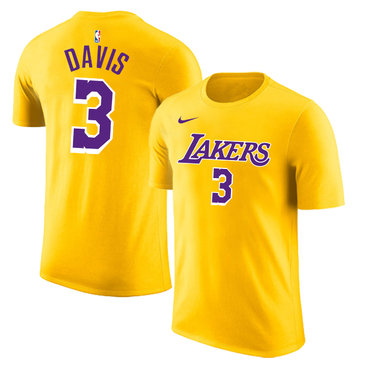 Los Angeles Lakers 3 Anthony Davis Yellow Nike T-Shirt