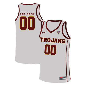 USC Trojans White Men's Customized Basketball Jersey