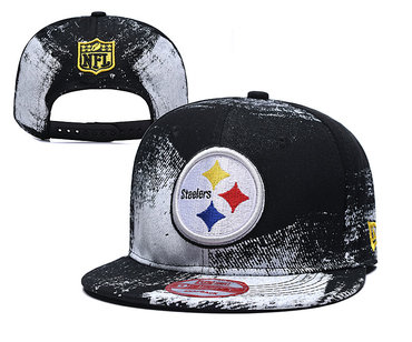 Steelers Team Logo Black White Adjustable Hat YD
