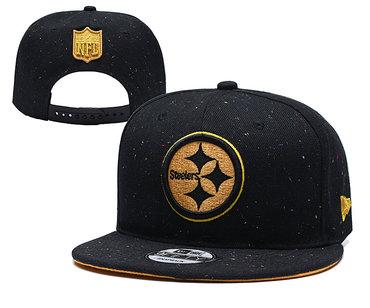 Steelers Team Gold Logo Black Adjustable Hat YD