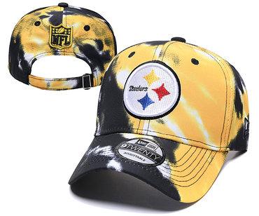 Steelers Team Logo Yellow Black Peaked Adjustable Fashion Hat YD