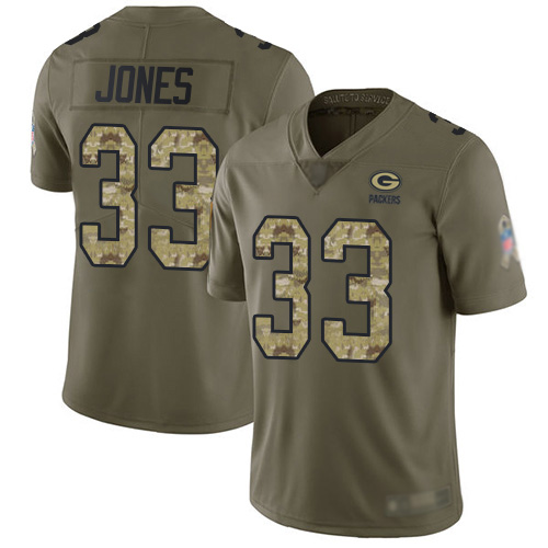 Men's Green Bay Packers #33 Aaron Jones Olive Camo 2017 Salute To Service Limited Jersey