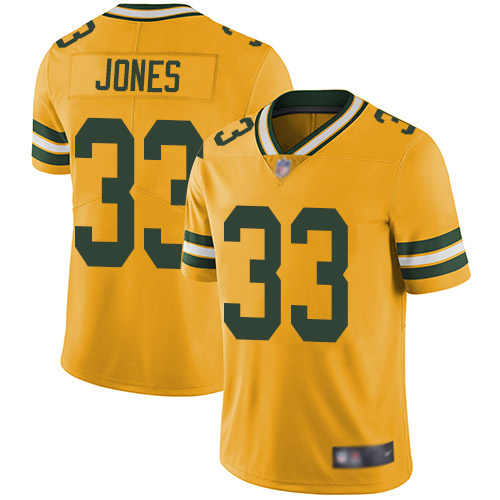 Men's Green Bay Packers #33 Aaron Jones Gold Limited Rush Vapor Untouchable Jersey