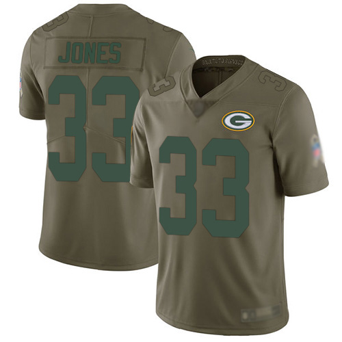 Men's Green Bay Packers #33 Aaron Jones Olive Limited 2017 Salute To Service Jersey